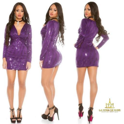 Mini vestido de noche purpura brillante [2]