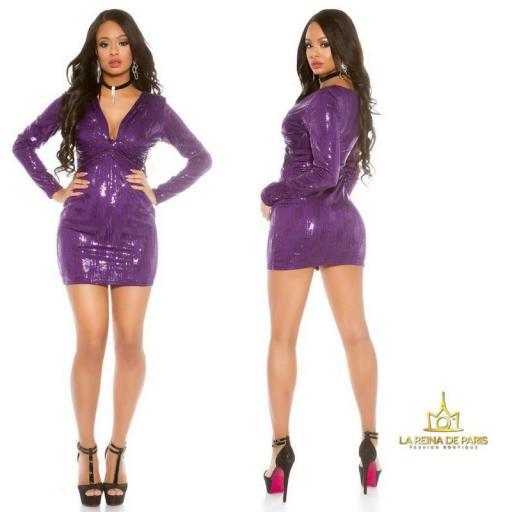 Mini vestido de noche purpura brillante [1]