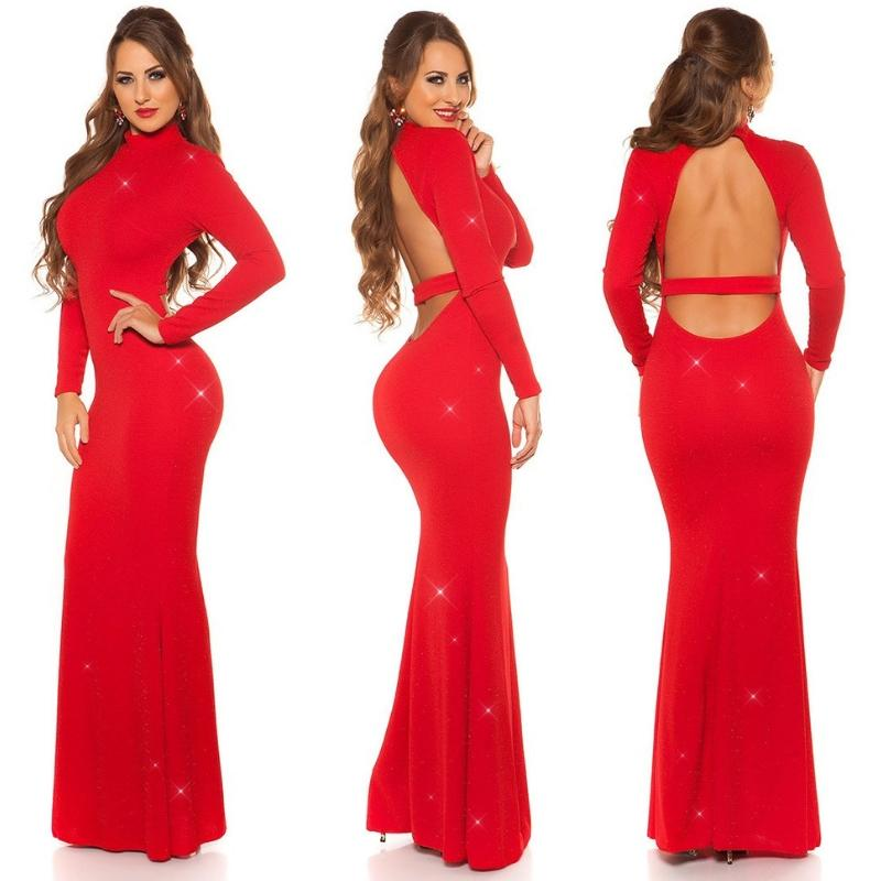 Vestido noche largo negro rojo