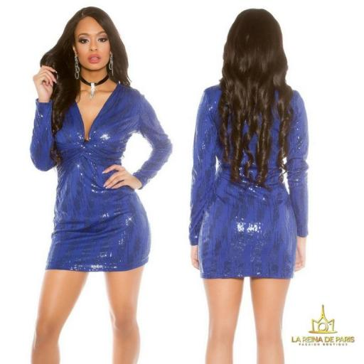 Mini vestido de fiesta ajustado azul