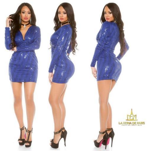 Mini vestido de fiesta ajustado azul [1]