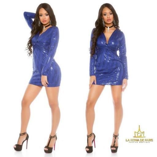 Mini vestido de fiesta ajustado azul [2]
