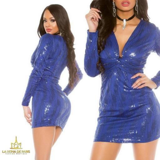 Mini vestido de fiesta ajustado azul [3]