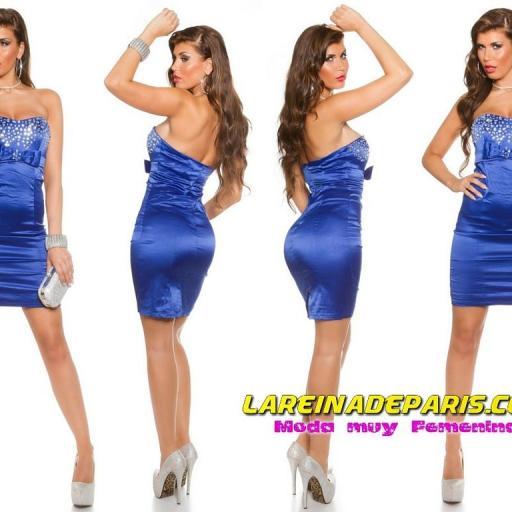 Elegante vestido palabra de honor azul [3]