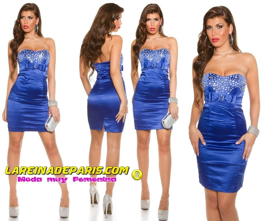 Elegante vestido palabra de honor azul
