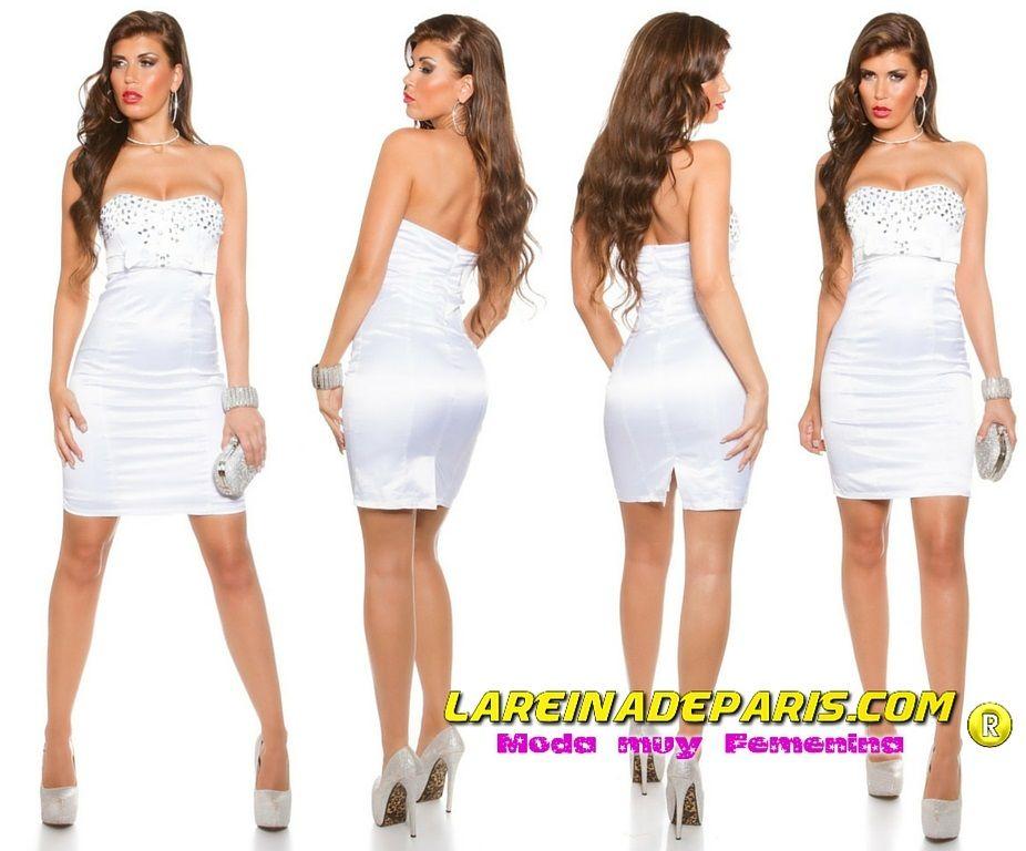 Espectacular vestido de cóctel blanco