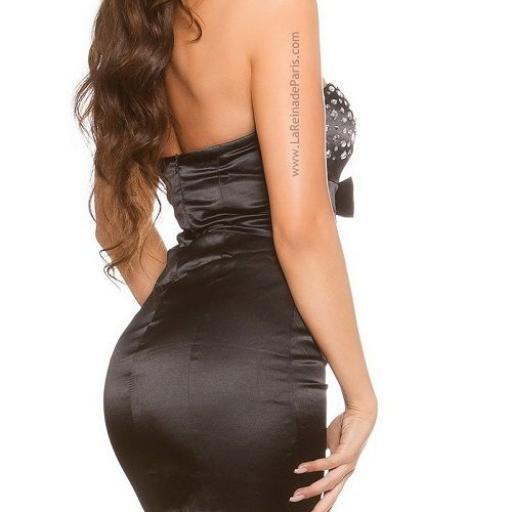 Cóctel vestido moda con diamantes negro [2]