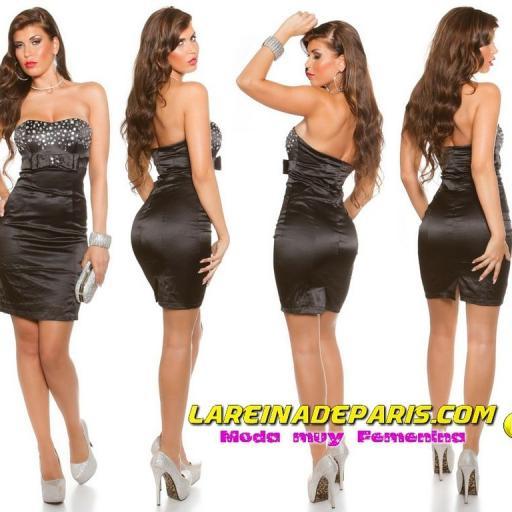 Cóctel vestido moda con diamantes negro