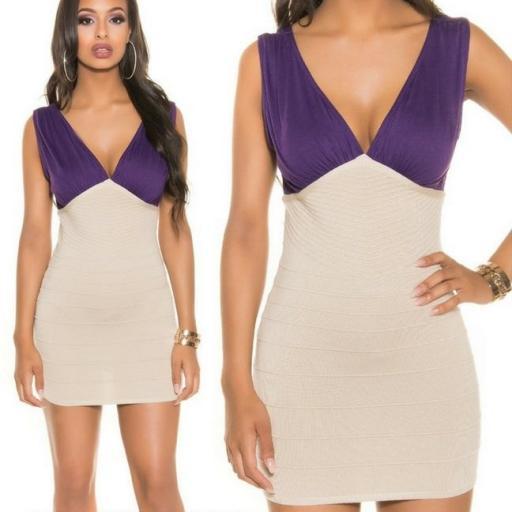 Mini vestido de punto Beige Purpura  [2]