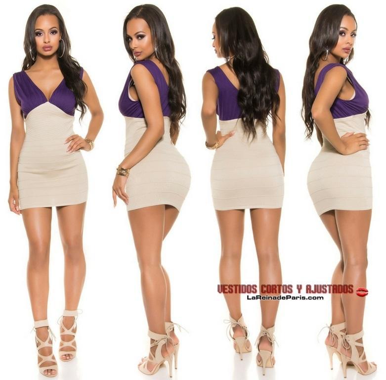 Mini vestido de punto Beige Purpura