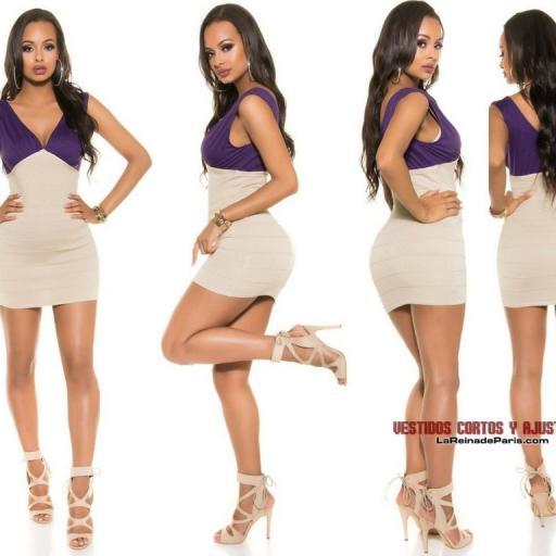 Mini vestido de punto Beige Purpura  [3]