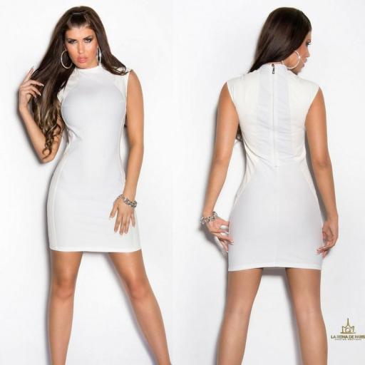 Vestido corto blanco ajustado con cuero