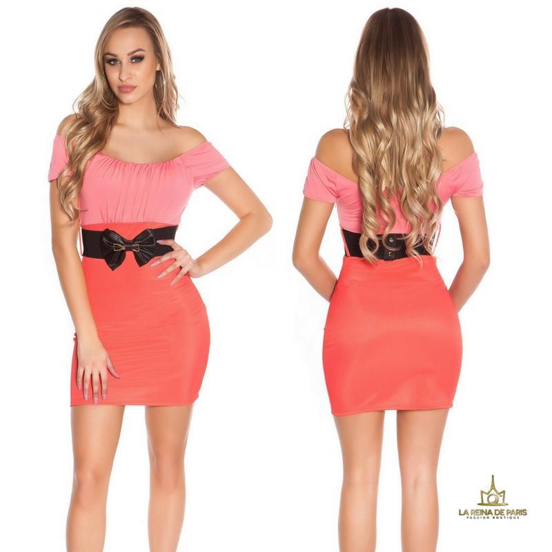 Vestido corto fresco bicolor