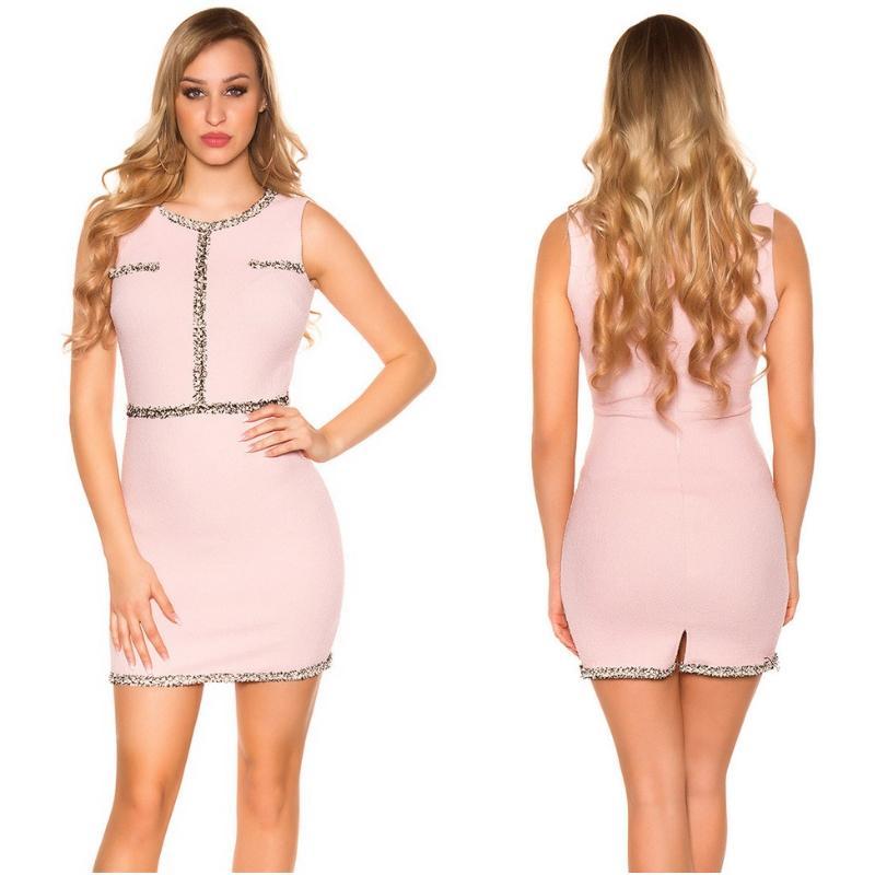 Vestido corto con costuras en contraste