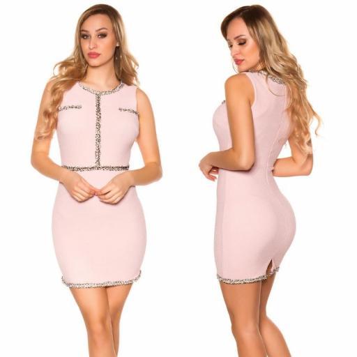 Vestido corto con costuras en contraste [1]