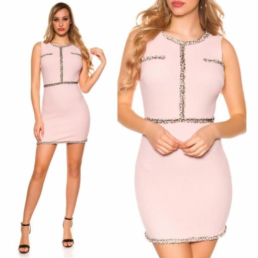 Vestido corto con costuras en contraste [3]