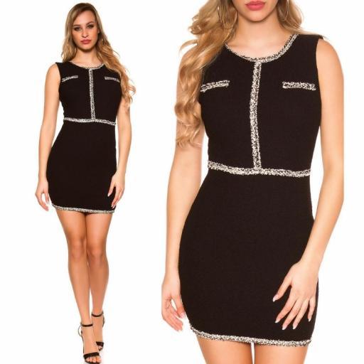 Vestido negro con costuras en contraste [3]