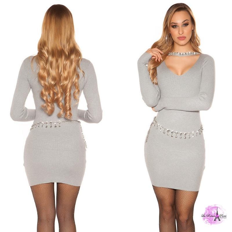 Vestido corto de punto con pedrería gris