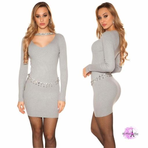 Vestido corto de punto con pedrería gris [1]