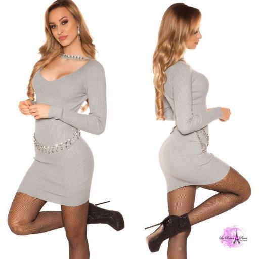 Vestido corto de punto con pedrería gris [2]