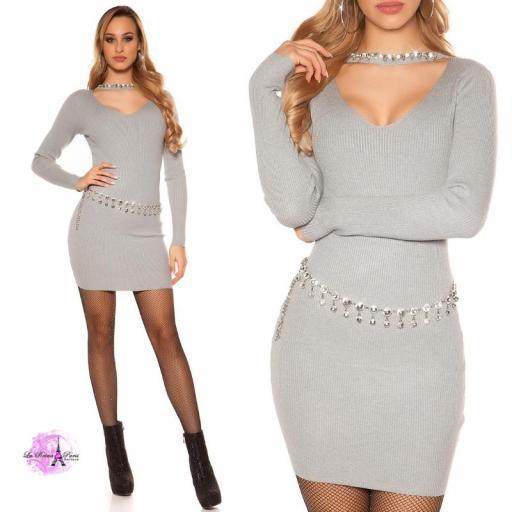 Vestido corto de punto con pedrería gris [3]