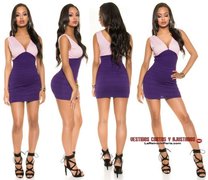 Vestido corto tejido en punto 2 colores