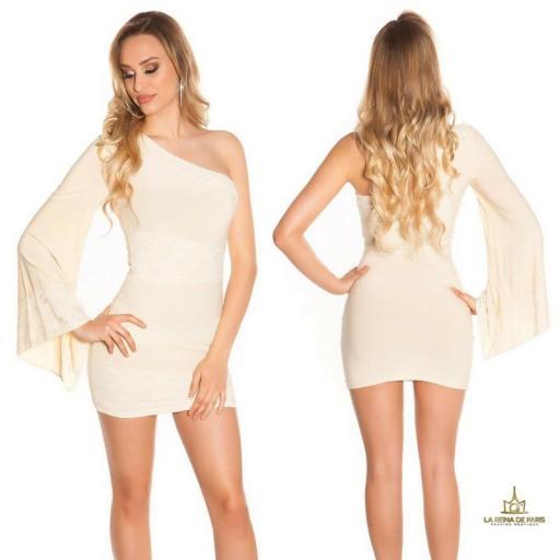 Vestido corto beige manga de encaje
