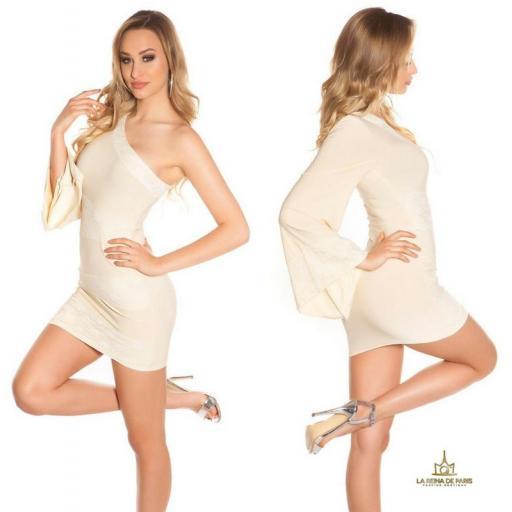 Vestido corto beige manga de encaje [2]