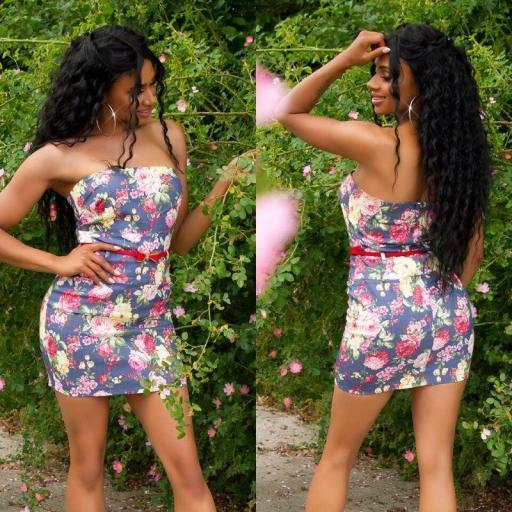 Vestido corto estampado de verano azul