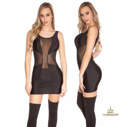 Vestido transparencias disco sexy negro [1]