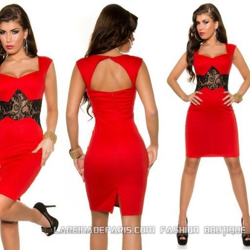 Vestido corto de encaje precioso rojo