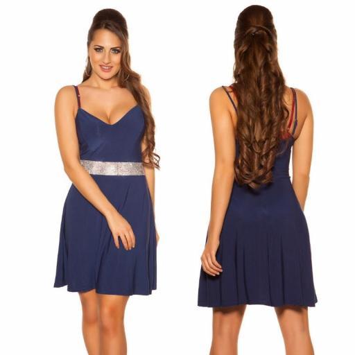 Vestido azul con pedrería Verona [1]