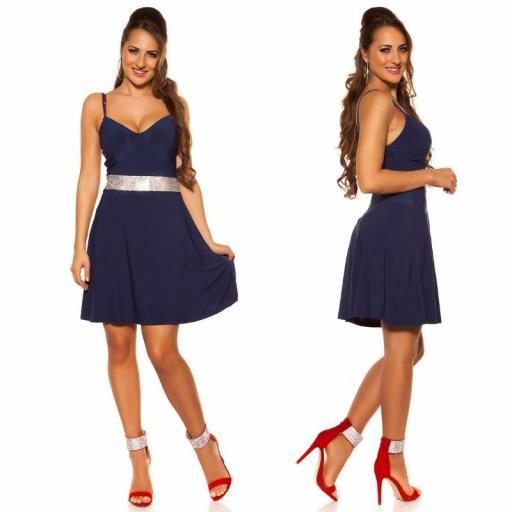 Vestido azul con pedrería Verona [2]