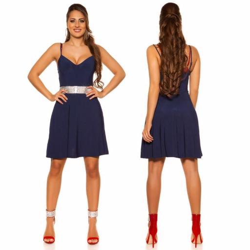 Vestido azul con pedrería Verona [3]