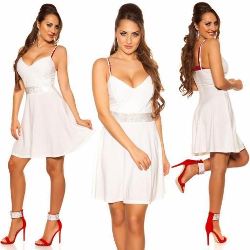 Vestido blanco con pedrería Verona