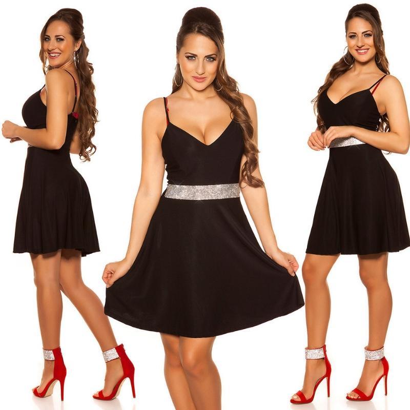 Vestido negro con pedrería Verona