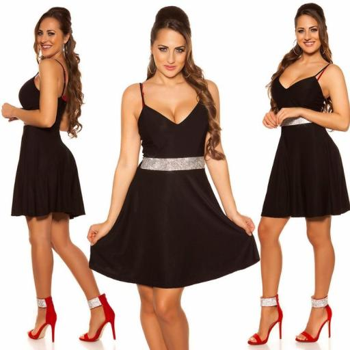 Vestido negro con pedrería Verona [0]