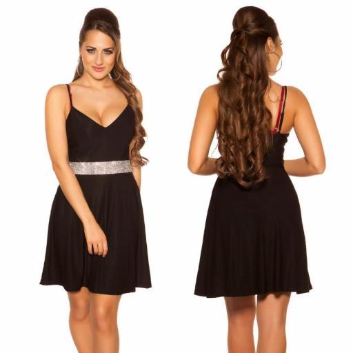 Vestido negro con pedrería Verona [1]