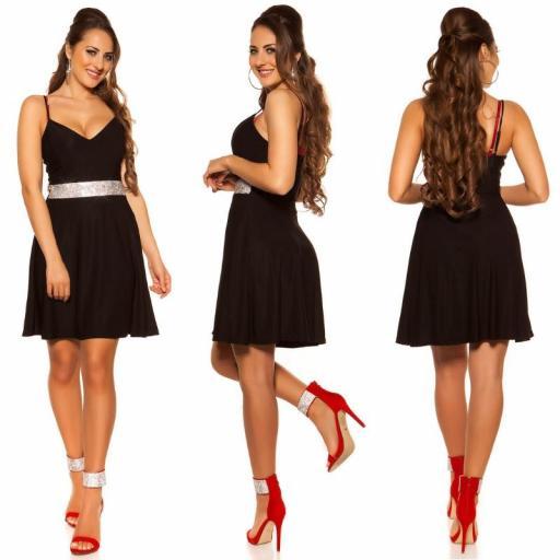 Vestido negro con pedrería Verona [3]