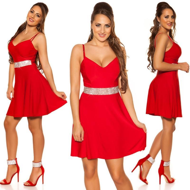 Vestido rojo con pedrería Verona
