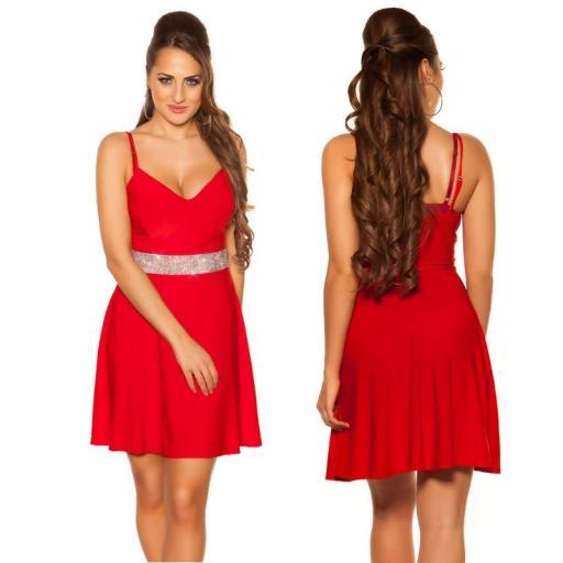 Vestido rojo con pedrería Verona [1]