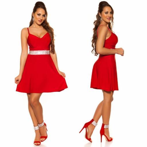 Vestido rojo con pedrería Verona [2]