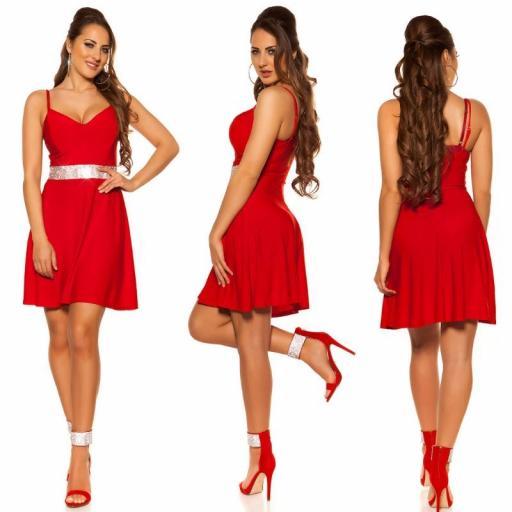 Vestido rojo con pedrería Verona [3]