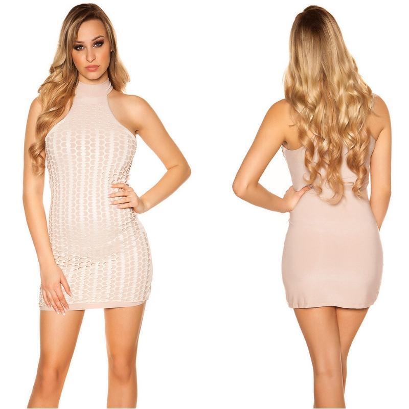 Vestido corto nude con detalles de piel
