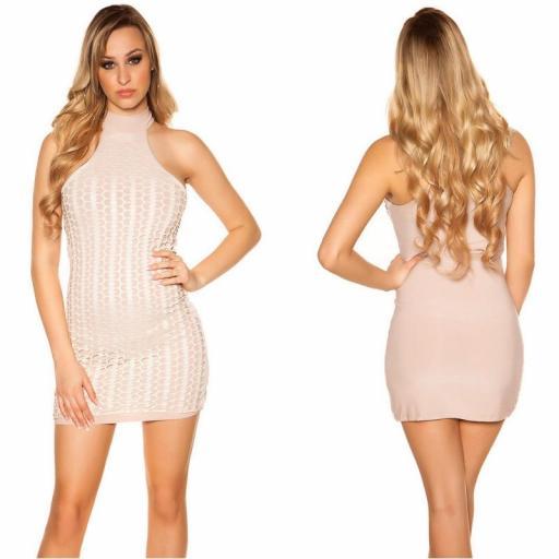 Vestido corto nude con detalles de piel [0]