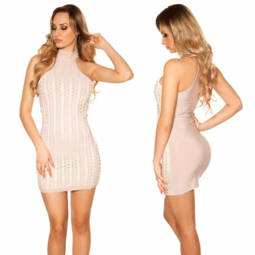 Vestido corto nude con detalles de piel [1]