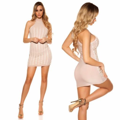 Vestido corto nude con detalles de piel [2]