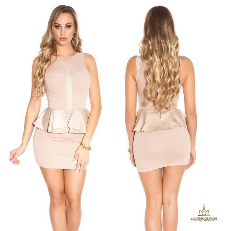 Mini vestido beige péplum de moda