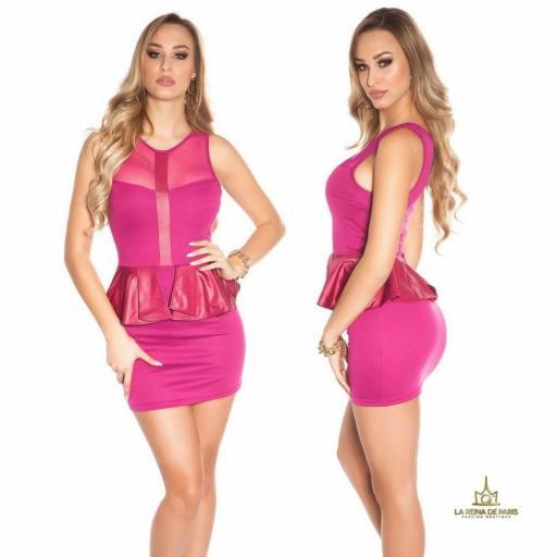 Mini vestido péplum de moda violeta [1]