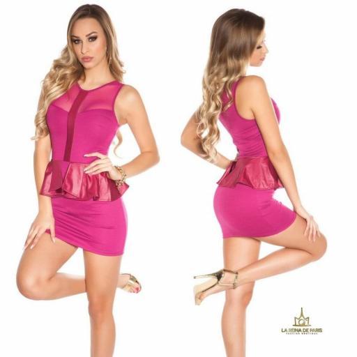 Mini vestido péplum de moda violeta [2]
